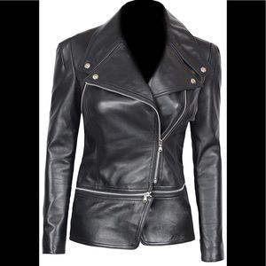 👝 Real Lambskin Woman leather biker jacket new
